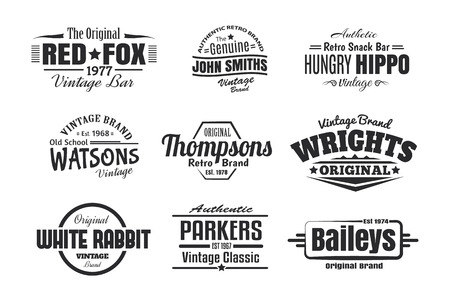 psd: 9 Vintage Retro Insignias Illustration