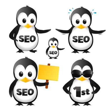 Set Of SEO Penguin Mascots 일러스트