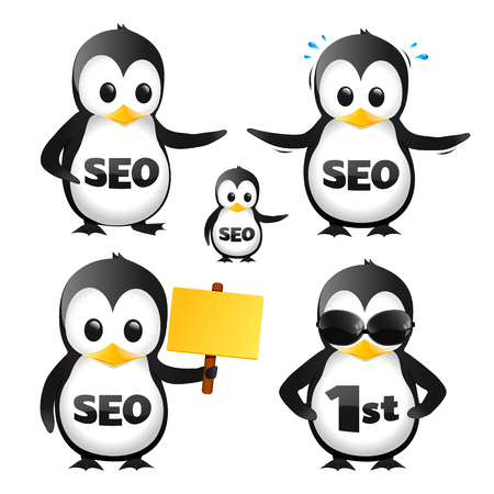 Set Of SEO Penguin Mascots Иллюстрация