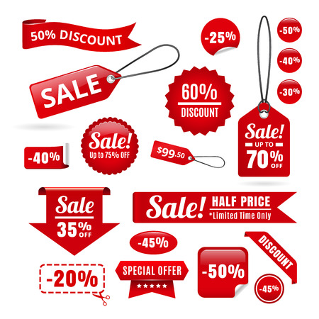 sale tags: Red Sale Discount Tags, Badges And Ribbons