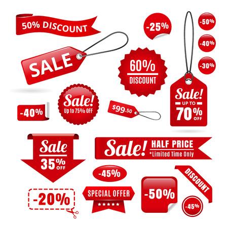 Tiquettes, insignes et rubans de réduction de vente rouge Banque d'images - 45510213