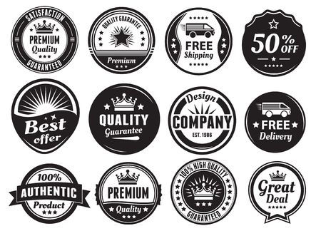 quality guarantee: Twelve Scalable Vintage Badges