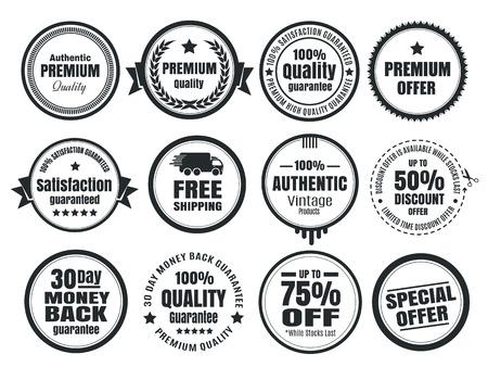 stamp: 12 Insignias de comercio electr�nico de la vendimia