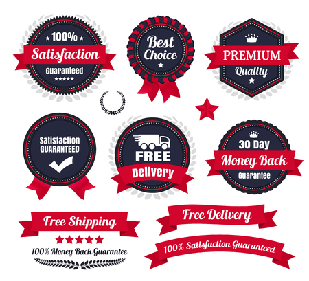 insignia: Cl�sicos premium Calidad Ecommerce Badges Vectores