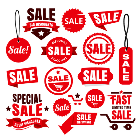 Red big discount badges, ribbons, tags and icons for sale promotions.