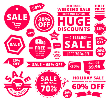 retail: Modern Discount Sale Tags, Badges And Ribbons Illustration