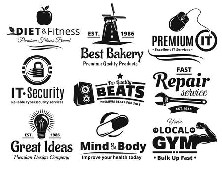 insignia: Etiqueta Insignia Y Icon Set