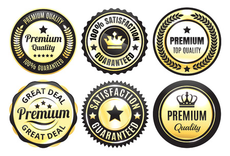 Or premium Badges Qualité Banque d'images - 64136046