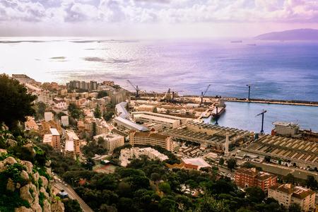Bay of Gibraltar and Gibraltar Town Stok Fotoğraf