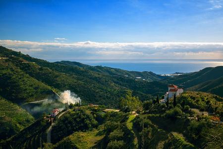 Landscape Mountains in Malaga, Spain Stok Fotoğraf