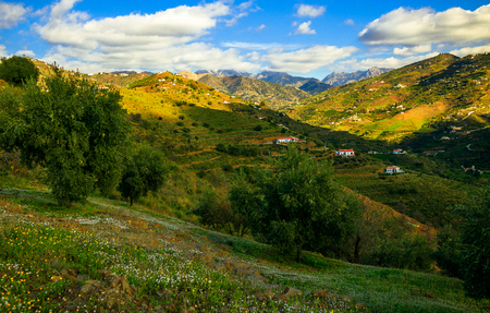 Sunny Day and Mountains in Malaga, Spain