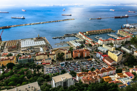 Bay of Gibraltar and Gibraltar Town Stock Photo