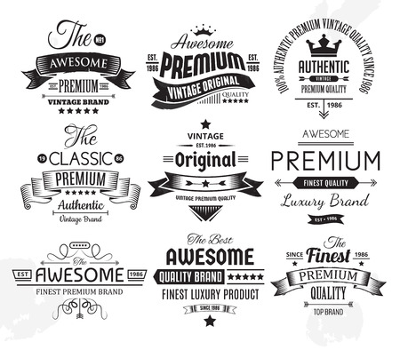 Neuf insignes ou étiquettes vintage Banque d'images - 104179468