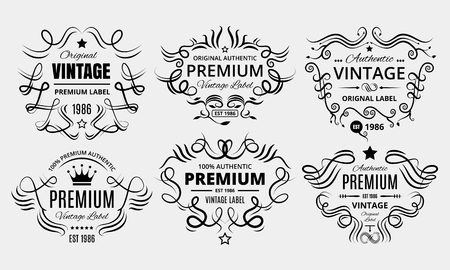 Six scalable old school retro vintage labels. Standard-Bild - 104790761
