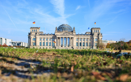 Berlin, Reichstag Building, low angle 스톡 콘텐츠 - 120225582