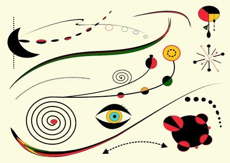 Abstracte lichte achtergrond, stijl Miro `schilder