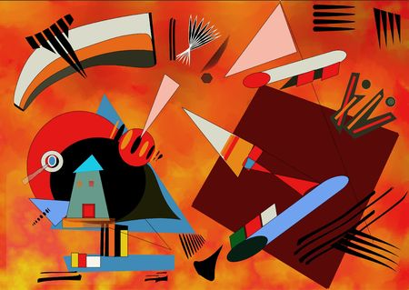 Olorful 赤背景画家を触発カンディン スキー