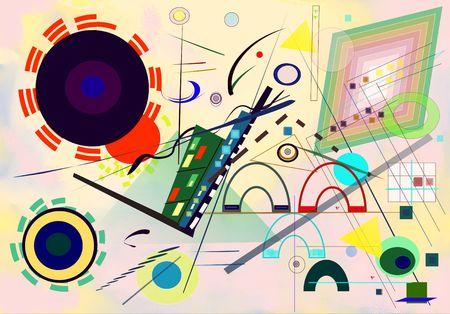 抽象的なカラフルな背景、画家に触発されカンディン スキー 写真素材