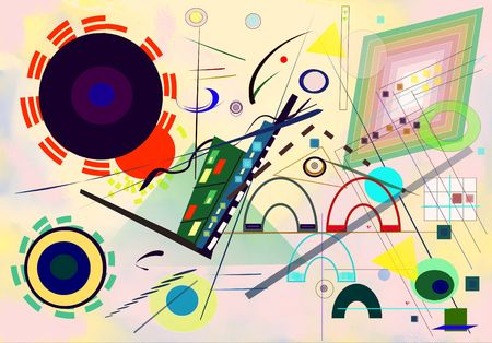 Abstract colorful background, inspired by the painter kandinsky 版權商用圖片