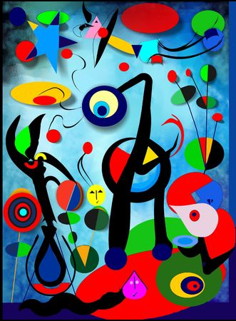 Abstract red blue background, inspired by the French painter Miro `