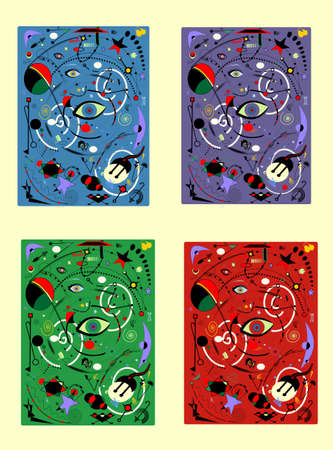 Abstract background, surrealism art style, set 4 color variants Vettoriali