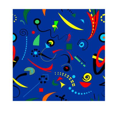 Abstract surrealist blue background, seamless pattern Vecteurs