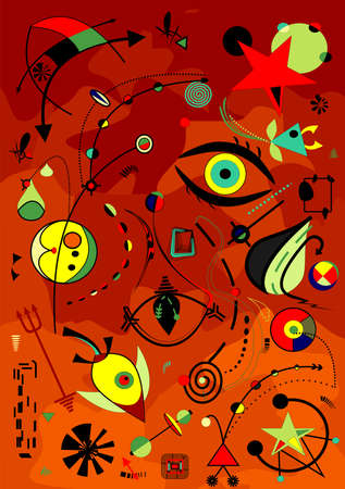 Abstract red background, fancy geometric and curved shapes, surrealism art style Vecteurs