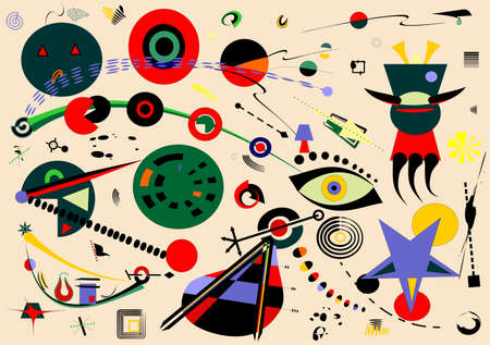 Abstract beige background, fancy geometric and curved shapes, surrealism art style