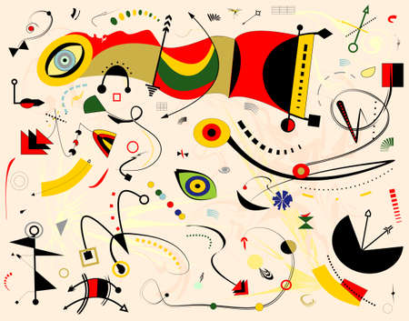 Abstract beige background, fancy shapes red yellow, inspired by surrealist painter Vecteurs