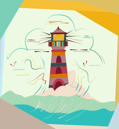 abstract colorful background, fantasy lighthouse, surrealist art style