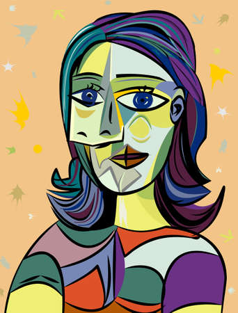 Colorful abstract background, cubism art style, woman portrait
