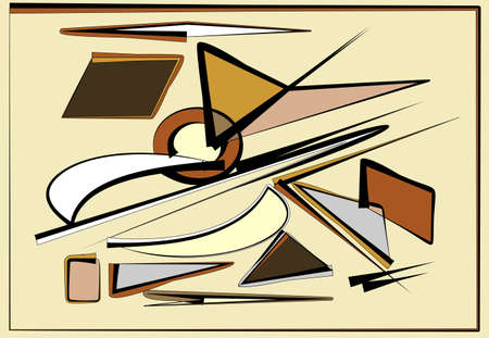 Abstract beige brown background, fancy geometric and curved shapes Иллюстрация