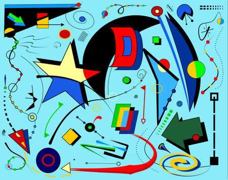 Abstract blue background, fancy geometric and curved shapes, surrealism art style