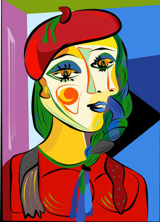 Colorful abstract background, cubism art style, woman red hat and braid
