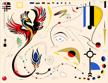 composition of abstract colorful shapes on beige background