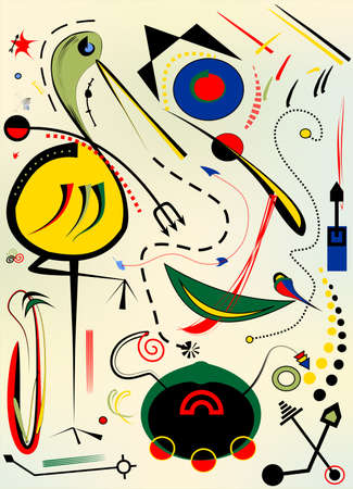Abstract beige vertical background, stork, surrealist art style Vettoriali