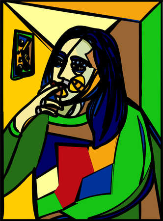 Colorful abstract background, cubism art style, young who smokes