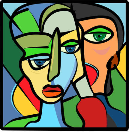 Colorful abstract background, cubism art style, woman and friend