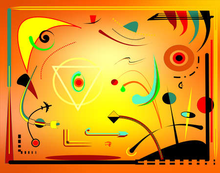 Abstract orange horizontal background, inspired by surrealist painter