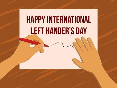happy international left hander's day with hand writing Illusztráció