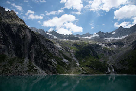 Beautiful mountain lake Gelmersee in Bern Switzerland