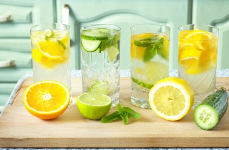 organic lemon: Vitamin-fortified water