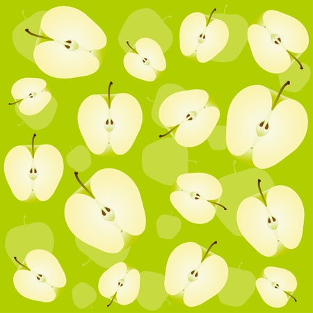 apple background, half of green apples  Vector