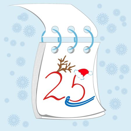 twenty five desember on the calendar, cristmas is coming Vector