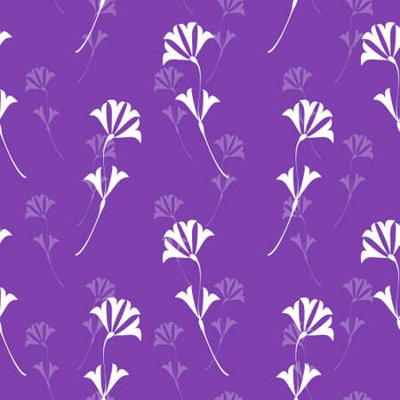 seamless flower texture, white flowers on purple background Vector