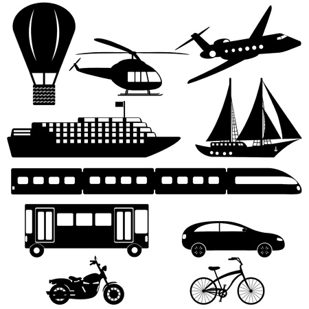 collection of transport icons on white background Vector
