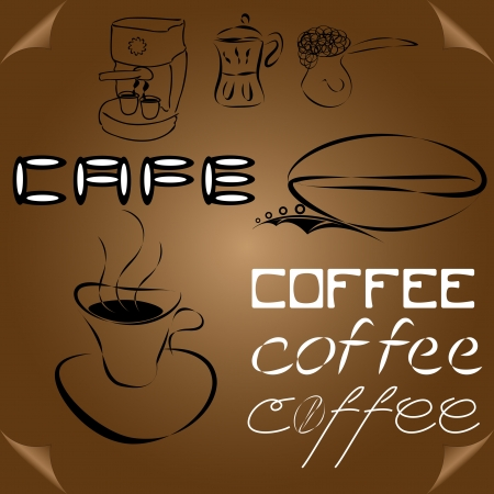 abstract coffee elements and words on brown page Vector