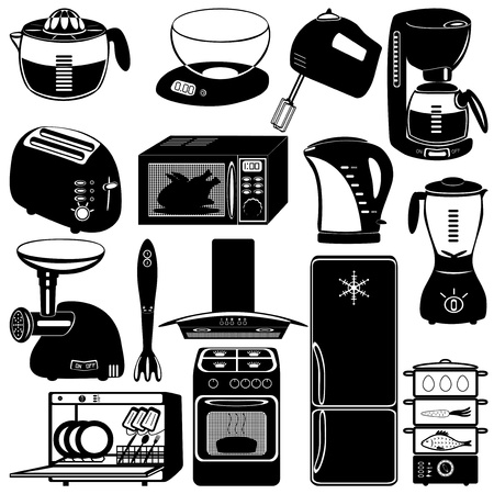 coffee pot: collection of kitchen appliances on white background