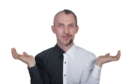 deliberate: half-shaved man in a black and white shirt Stock Photo