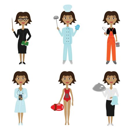collection of women s professions on white background Vector